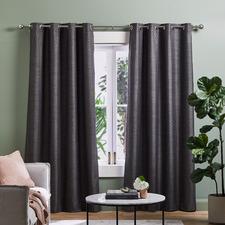 Charcoal Lexington Eyelet Blockout Curtains (Set of 2)