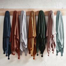 Pom Pom Knitted Cotton Throw