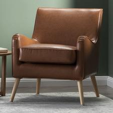 Tan Shelley Premium Faux Leather Armchair