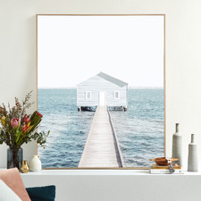 Blue Hut Framed Canvas Wall Art