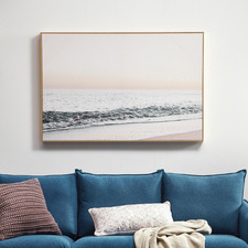 Blush Seascape Framed Canvas Wall Art