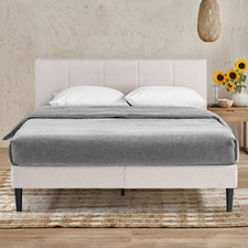 Natural Imogen Upholstered Bed with USB
