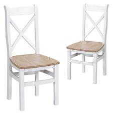 White & Natural Alby Wooden Dining Chairs (Set of 2)
