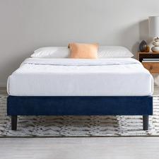 Dark Blue Essentials Velvet Platform Bed