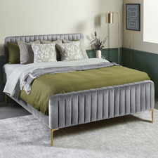 Grey Emily Velvet Bed