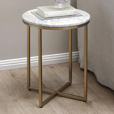 40cm White Serena Round Italian Carrara Marble Side Table