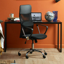 2 Piece 140cm Carnegie Office Desk & High Back Mesh Office Chair Set