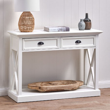 White Hamptons 2 Drawer Console Table