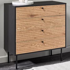Black & Natural Reynold Lines Chest of Drawers