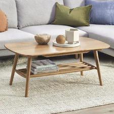 Oscar Oak Coffee Table with Shelf