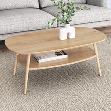 Light Timber Frida Coffee Table with Shelf