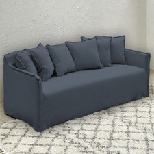 Charcoal Fitzroy 3 Seater Slipcover Sofa