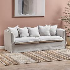 Natural Montauk 3 Seater Slipcover Sofa