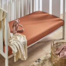 Cinnamon Washed Organic Cotton Fitted Cot or Bassinet Sheet
