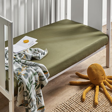 Olive Washed Organic Cotton Fitted Cot or Bassinet Sheet