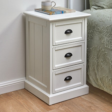 White Hamptons 3 Drawer Bedside Table