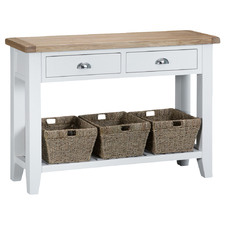 White Alby Console Table with Baskets