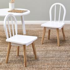 Kids' White & Natural Isla Chairs (Set of 2)