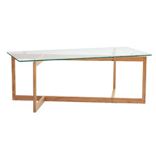 Charlie Sculptural Glass and Oak Coffee Table
