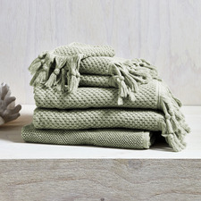 6 Piece Sage Hand-Knotted Turkish Cotton Towel Set