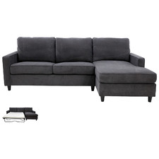 Licorice Ziggy 3 Seater Sofa Bed with Chaise
