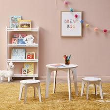 Kids' White Finn Table & Stool Set
