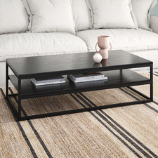 Black Boras 120cm Coffee Table with Shelf