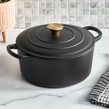 Black 4.3L Round Cast Iron Dutch Oven