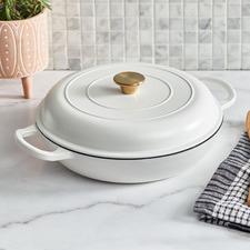 White 3.5L Cast Iron French Pan
