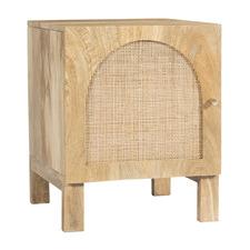 Natural Anya Mango Wood & Rattan Bedside Table