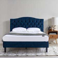Navy Willow Velvet Bed