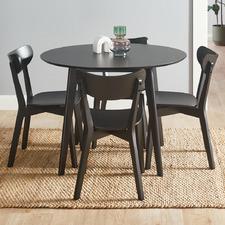 4 Seater Black Larsen Round Dining Set
