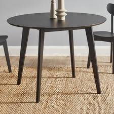Black Larsen Round Wooden Dining Table