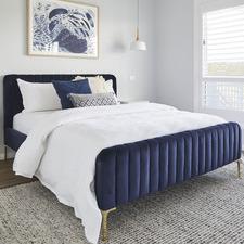 Navy Emily Velvet Bed