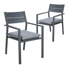 Charcoal Kos Aluminium Outdoor Slatted Dining Chairs (Set of 2)