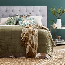 Light Grey Yorkshire Linen-Blend Tufted Bedhead