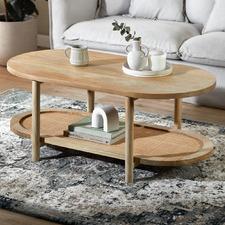 Natural Anya Mango Wood & Rattan Coffee Table