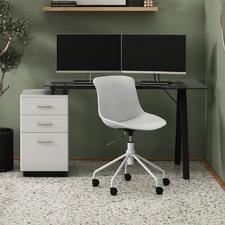 Black & White Gabe Glass-Top Desk with Storage
