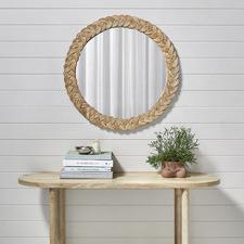 Braided Round Wicker Wall Mirror