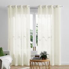 Cream Valerian Eyelet Sheer Curtains (Set of 2)