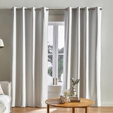 Bright White Lexington Eyelet Blockout Curtains (Set of 2)