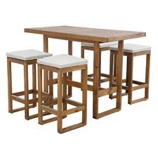 4 Seater Terrace Acacia Wood Outdoor Bar Table Set