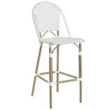 76cm Grey & White Paris High Back PE Rattan Outdoor Barstool