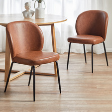 Tan Matteo Faux Leather Dining Chairs (Set of 2)