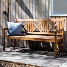 3 Seater Natural Santa Cruz Acacia Wood Outdoor Bench