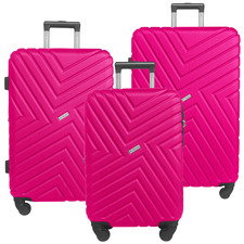 3 Piece Magenta Maze Hard Shell Luggage Set