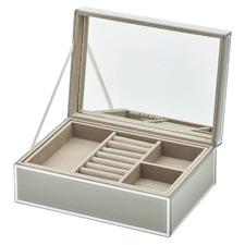 Cool Grey Sara Large Personalised Glass Jewellery Box