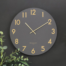 Charcoal Grey Jones Silent Wall Clock