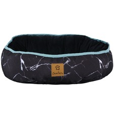 Black Marble Reversible Oval Pet Bed
