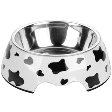 2 Piece White Stainless Steel Pet Bowl